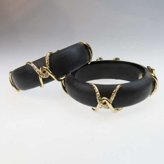 Two Alexis Bittar Carved Black Lucite And Gold Tone Metal Spring Hinged