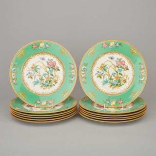 Set of Twelve Minton Apple Green Banded Service Plates, 20th century -