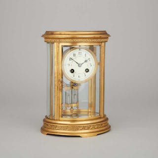 French Oval Four Glass Panel Gilt Brass 'Crystal Regulator' Clock, c.1900 -