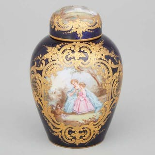 'Sèvres' Blue and Gilt Ground Tea Canister, late 19th century -