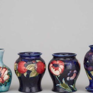 Four Moorcroft Small Vases, 20th century -