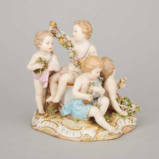 Meissen Figure Group Emblematic of Spring, late 19th century -