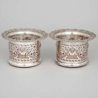Pair of Silver Plated Wine Coasters, 20th century -
