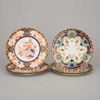 Six Royal Crown Derby Dessert Plates, 20th century -