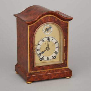 French Miniature Burl Walnut Quarter Striking Bracket Clock, 19th century -
