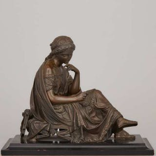 French School Patinated Bronze Figure of a Seated Muse, 19th century -