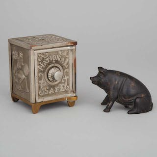 American Nickel Plated Cast Iron and Brass 'National Safe' Still Bank, c.1890 -