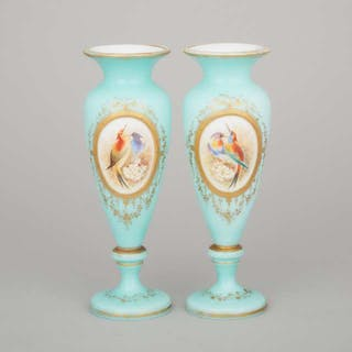 Pair of French Blue Overlaid, Enameled and Gilt Opaline Glass Vases, c.1870 -