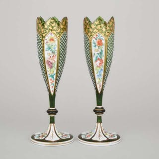 Pair of Bohemian Overlaid, Enameled and Gilt Green Glass Vases, late