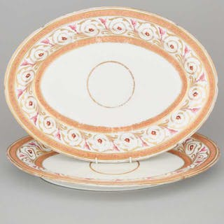 Pair of Coalport Apricot and Gilt Banded Large Oval Platters, early