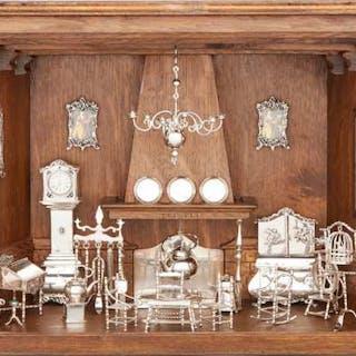 Dutch Silver Miniature Living Room Diorama, H. Hooijkaas, Schoonhoven