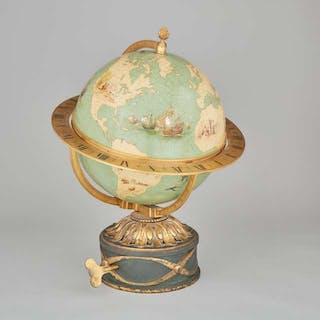 Swiss World Time Clock Globe on Floor Stand, Eduard Gübelin, Lucerne, c.1930 -