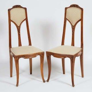 Pair of Louis Majorelle 'Clématites' Side Chairs, c.1900 -