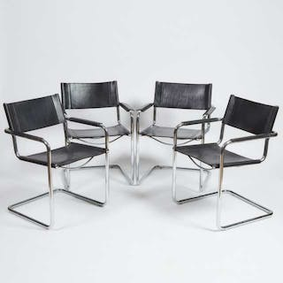 Set of Four Contemporary Chrome and Leather Arm Chairs, c.1984 -