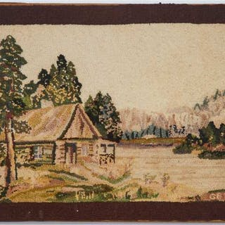 Quebec Hooked Rug, early 20th century -