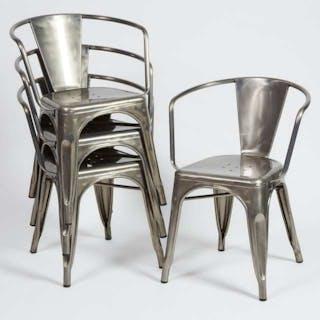 Set of Four Xavier Pauchard (1880-1948) Model A56 Open Armchairs