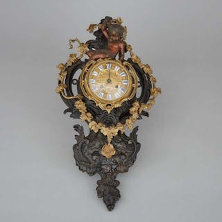 French Gilt and Patinated Bronze Cartel Clock, c.1900 -