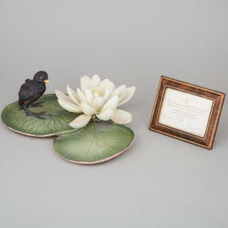 Royal Worcester 'Moorhen Chick and Water Lily' Bird Model, 113/500