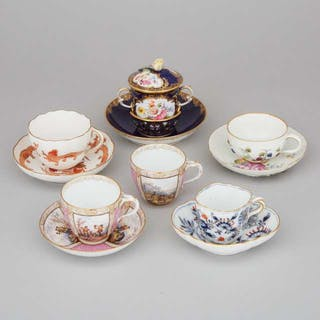 Six Meissen Cups and Five Saucers, late 19th/early 20th century -