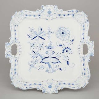 Meissen Blue Onion Pattern Two-Handled Square Serving Tray, c.1900 -