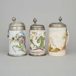 Three German Pewter Mounted Faience Steins, late 18th/early 19th century -