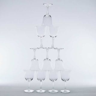 'Barsac', Ten Lalique Moulded and Partly Frosted Glass Wine Glasses