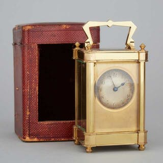 French Art Deco Brass Carriage Clock, c.1920 -