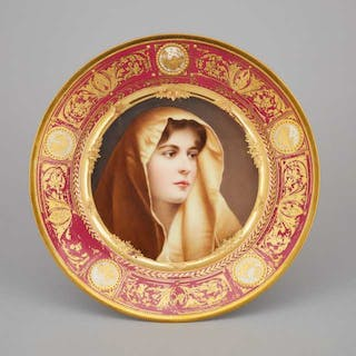 'Vienna' Decorated Claret and Gilt Banded Cabinet Plate, 'Madonna'