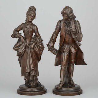 Pair of French School Figures of Courtiers, 19th century -