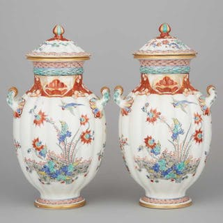 Pair of Samson Kakiemon Two-Handled Vases and Covers, c.1900 -