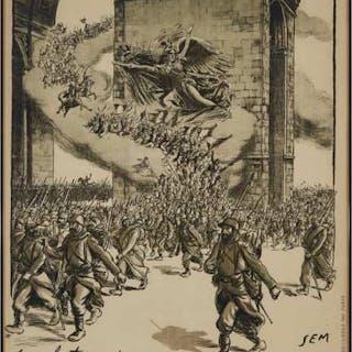 French WWI Propaganda Poster , 1914 - BANQUE NATIONALE DE CREDIT