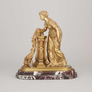 French School Gilt Bronze figure of a Classical Woman, 19th century -