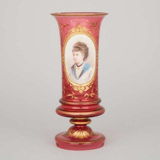 Bohemian Overlaid, Enameled and Gilt Red Glass Portrait Vase, late