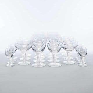 Stuart 'Sonata' Pattern Glass Airtwist Stemware, 20th century -