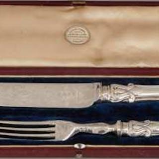 Victorian Silver Albert Pattern Dessert Serving Knife and Fork, Aaron