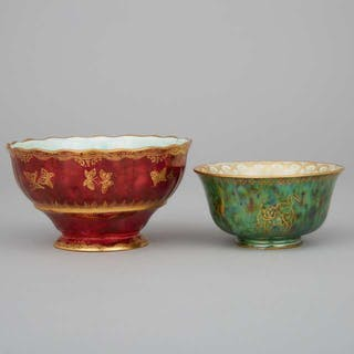 Two Wedgwood Butterfly or Dragon Lustre Small Bowls, 1920s -