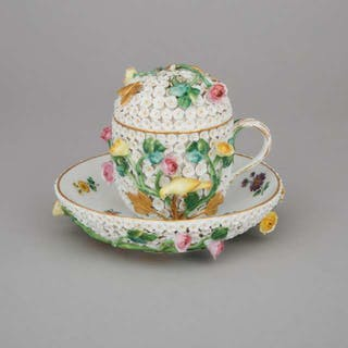 Meissen Schneeballen Covered Cup and Saucer, late 19th century -