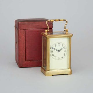 French Brass Carriage Clock, c.1900 -