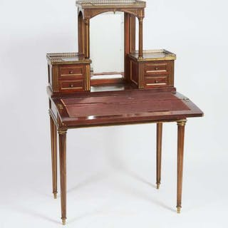French Neoclassical Ormolu Mounted Mahogany Bonheur du Jour, c.1900 -