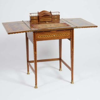 Syrian Bone and Exotic Mixed Wood Parquetry Writing Desk, early 20th century -