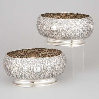Pair of Victorian Silver Repoussé Oval Bowls, Horace Woodward & Co.