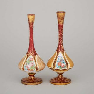 Two Bohemian Overlaid, Enameled, and Gilt Red Glass Vases, late 19th century -