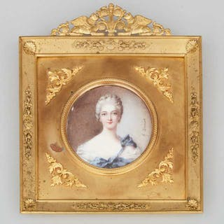 French School Portrait Miniature of a Nobel Woman, early 20th century  -