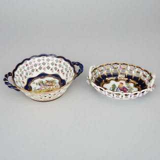 Two Samson 'Worcester' Scale Blue Ground Reticulated Baskets, early