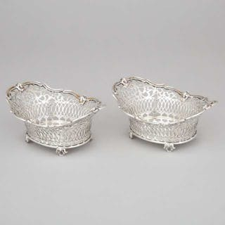Pair of German Silver Pierced Bonbon Baskets, c.1900  -