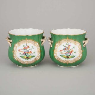 Pair of French Porcelain Apple Green and Gilt Cache Pots, early 20th century -