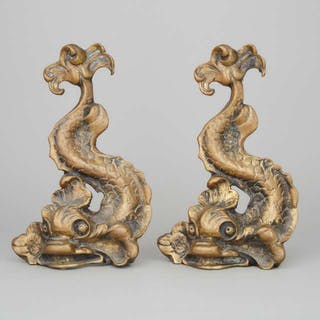 Pair of English Gilt Brass Dolphin Form Doorstops, early 20th century -