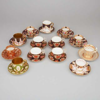 Thirteen Various English Porcelain Cups and Saucers, late 19th/20th century -