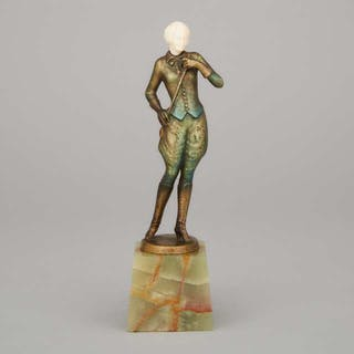 French Art Deco Figure of a Young Woman in a Riding Habit with Crop, c.1925 -