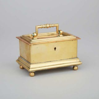 Small Brass Tobacco Chest, 18th century -
